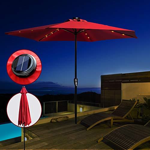 Masthome 10ft Sonnenschirm mit Solar LED Lichtern Neigbar,Sonnensegel Verstellbar,Gartenschirm Sonnenschutz und Regenschutz,Markise Balkon für Balkon,Marktschirm,Terrassenschirm