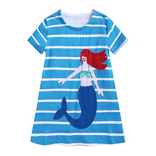 (1,5-7 Jahre alt) Kidswear Summer Home Komfortables T-Shirt Langes Kind Cartoon Meerjungfrau Kleid Lose Streifen Kurze Ärmel