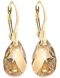 Damen-Ohrringe 16mm Golden Shadow Pear Kristalle von Swarovski, echtes Vermeil: Gold 24K über Sterlingsilber, mit 925er-Prägung, Gesamtgewicht: 3 g
