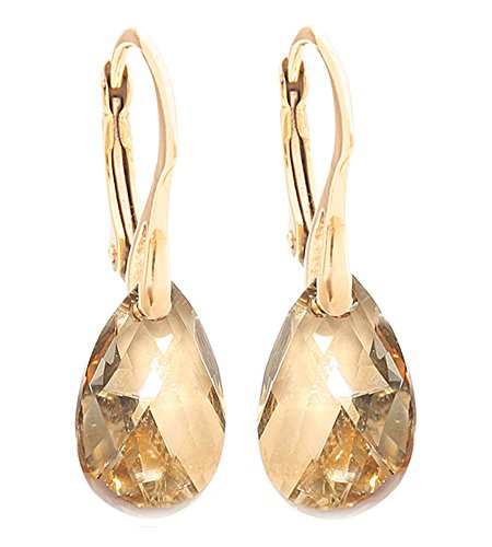 womens-16mm-golden-shadow-crystals-from-swarovskir-pear-earrings-genuine-vermeil-24k-gold-over-sterl