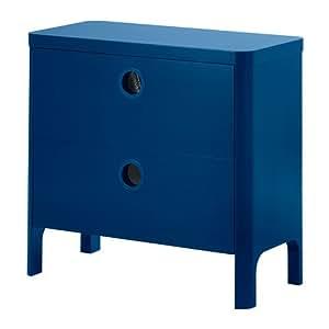 IKEA BUSUNGE - Commode 2 tiroirs, bleu moyen - 80x75 cm