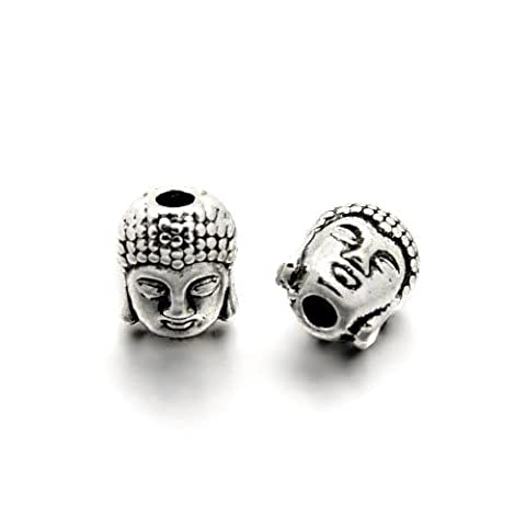 Packet of 5 x Antique Silver Tibetan 8 x 10mm Buddha Head Beads - (HA17550) - Charming Beads - Buddha Bead