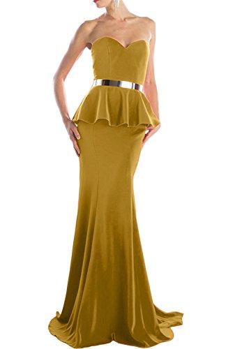 Gorgeous Bride Hochwertig Herzform Lang Schleppe Satin Meerjungfrau  Abendkleider Lang Cocktailkleider Ballkleider Golden
