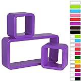 WOLTU #65 3er Set Lounge Cube Regal Retro Wandregal Bücherregal, MDF Holz Lila