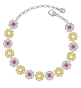 Lucia Costin Sterling Silver, White, Pink Swarovski Crystal Bracelet, Stunning