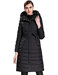 Queenshiny Long Women's Down Coat hooded Goose down filling winter slim with belt uk size from 8--16