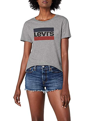 Levi's Damen T-Shirt the Perfect Tee, Grau (Sportswear Logo Smokestack Htr 0303), Gr. M