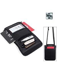 9b59665b81 Portafoglio da viaggio con collo a portafoglio con portafogli RFID e porta  passaporto- Portafoglio da