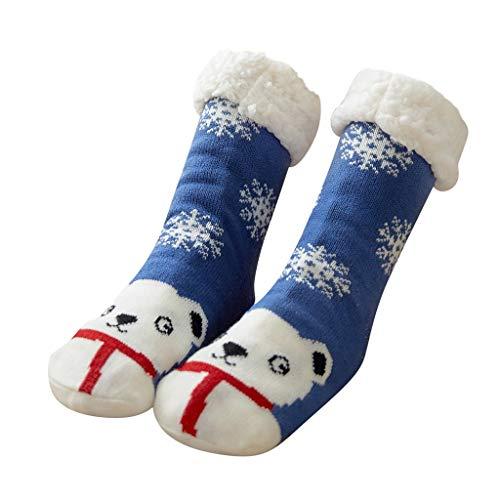 TMOTYE 1 Paar Damen Kuschelsocken mit ABS Stoppersocken Weihnachtsfrauen Baumwollsocken Mehrfarben Winter Socken für Mädchen