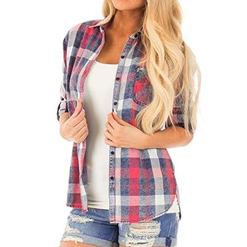 Button-up-shirt (Chenang Frauen Casual Langarm New Grid Button Shirt Damen Holzfäller Baumwolle Karohemd Umlegekragen Button Up Plaid Shirt Bluse Tops Ladies Checked Shirt)