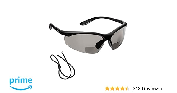 SMOKE//GRAY +1.0 Dioptre CE EN166F certified//Cycling Sports Glasses includes safety cord voltX CONSTRUCTOR BIFOCAL Reading Safety Glasses