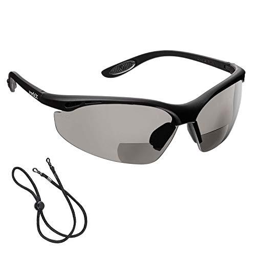 voltX 'Constructor' BIFOKALE Schutzbrille mit Lesehilfe (RAUCHGRAUE +2.0 Dioptrie) CE EN166F Zertifiziert/Sportbrille für Radler enthält Sicherheitsband - Bifocal Safety Glasses