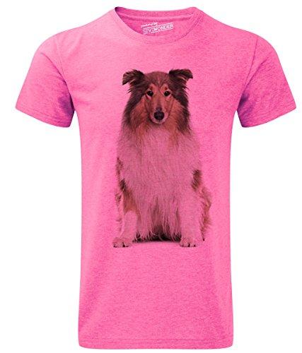 Siviwonder Unisex T-Shirt COLLIE Langhaar rough Hunde pink marl