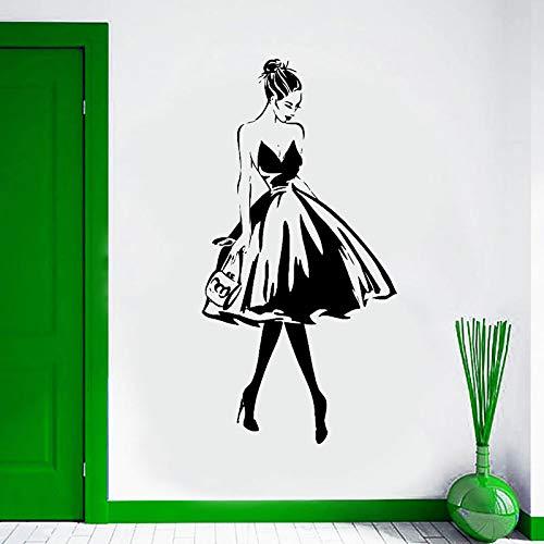 jiuyaomai Wandtattoo Frau Gesicht Mode Stil Vinyl Wandaufkleber Kleidung Boutique Kleid Design Wand Poster Beauty Salon Dekor 57x112cm