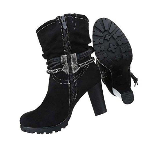 Damen Stiefeletten Schuhe Stiefel Schwarz Schwarz