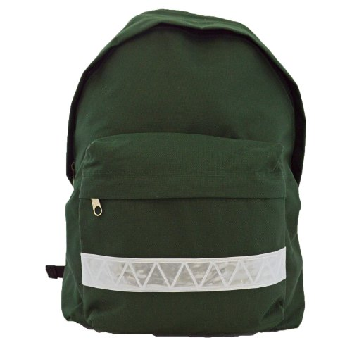 euro-childrens-rucksack-backpack-bag-in-9-colours-with-safety-strip-bottle-green
