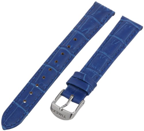 Timex Women's T7B945GZ 16mm Blue Croco Patterned Leather Watch Strap - Watch Band Timex 16mm