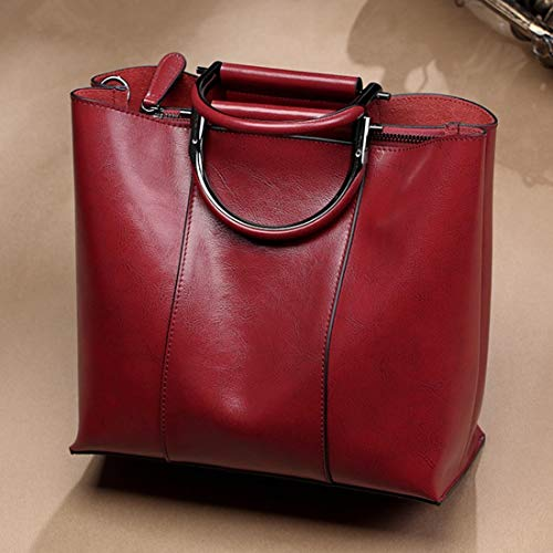 Große Satchel Tote (Kamiwwso Echtes Leder Satchel Geldbörsen und große Kapazität Handtaschen für Frauen Schulter Tote Bags (Color : Wine red))