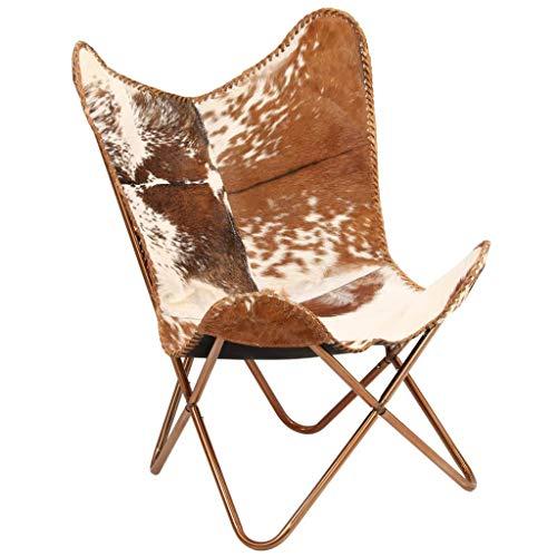 Festnight Butterfly-Sessel | Relaxstuhl Echtleder | Echt Leder Stuhl | Vintage Stühle mit Rückenlehne | Retro Lederstuhl | Braun und Weiß Echtes Ziegenleder mit Stahlrahmen 74 x 66 x 90 cm