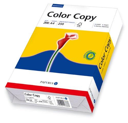 Papyrus Farblaserpapier Color Copy, satiniert, DIN A4 = 21,0 cm x 29,7, 200g, ws, 250 Bl (Papier Copy Weiß)