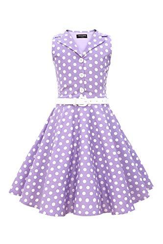 BlackButterfly Kinder 'Holly' Vintage Polka-Dots Kleid im 50er-J-Stil (Lila, 7-8 J / 122-128) -