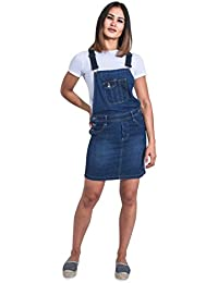 ebd9adec623d Uskees Short Denim Dungaree Dress - Palewash Bib Overall Skirt Braces  Straps ISABELLEPW