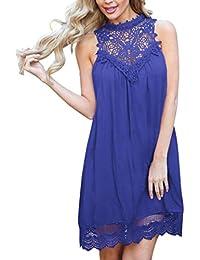OHQ Vestido sin mangas hueco con cuello alto y costura rosa azul negro,Mini vestido sin mangas de fiesta vestido de…