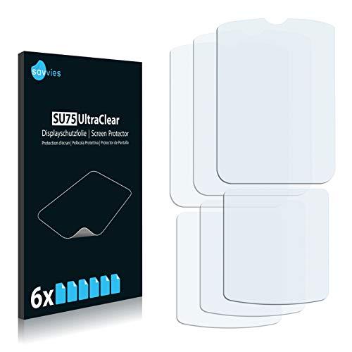 Savvies Schutzfolie kompatibel mit Motorola Razr V3i (6 Stück) - ultraklare Bildschirmschutz-Folie