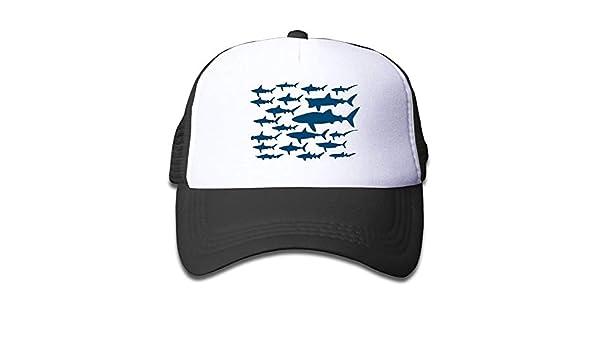 Ocean Shark Floral Sea Fish Kid Mesh Hat Toddler Baseball Cap for Boys Girls Printing Adjustable Snapback Hip Hop Cool Trucker Plain Flat Hats for Dance