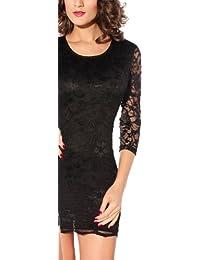 r-dessous Spitzen Mini Kleid Vintage Abendkleid Cocktailkleid schwarz Ballkleid langarm Minikleid