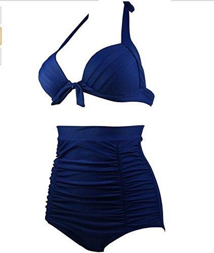 Women's, gepunktet, Blumen im Vintage-Stil, High Waist, Push-Up Bikini Set Badeanzug Swimwear Nr. 16