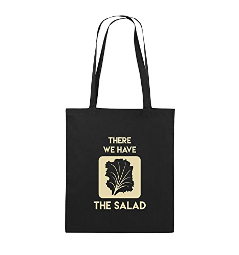 Comedy Bags - THERE WE HAVE THE SALAD - Jutebeutel - lange Henkel - 38x42cm - Farbe: Schwarz / Pink Schwarz / Beige