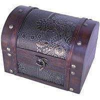 Thunderdog Big - scrigno petto scatola gabba pirata tesoro legno baule decorazione cassettina Baule porta gioielli artigianato 18x12x13cm