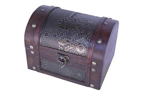 Thunderdog BIG - bois Pirate's trésor caisse boîte de rangement de la poitrine 18 x 13 x 13 cm