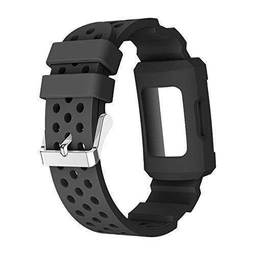 LCLrute Silikagel Schnallen Band Bügel ArmbandBelt + Watch Fall für Fitbit Gebühr 3 (Schwarz)