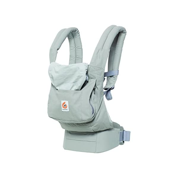 "Ergobaby Front and Back Original Baby Carrier, Pearl Grey Ergobaby Ergonomic baby carrier - ergonomic for baby with wide deep seat for a spread-squat, natural ""m"" seated position. Baby carrying system with 3 carry positions:  front-inward, hip and back. from baby to toddler: 5.5*-20 kg Maximum wearing comfort - lumbar support waist belt (adjustable from 66-140 cm / 26-52 in) that can be adjusted to the height of the carry position. 2"