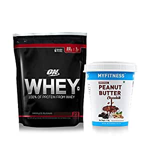 MYFITNESS Chocolate Peanut Butter 510g & Optimum Nutrition (ON) 100% Whey Protein Powder - 1.85 lbs, 837 g (Chocolate Milkshake)