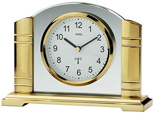 AMS Funk Tischuhr, Holz, Gold, 33 x 27 x 15 cm -
