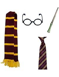 Wicked Fun Kids Harry Potter Purple & Yellow Scarf Hat Tie World Book Day Fancy Dress Set