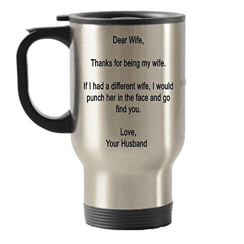 Dear Wife, Dank für meine Frau–Geschenk Form Ehemann Edelstahl Reise Isolierte Becher Tasse Schweißer Kamera
