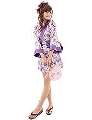 XIXI Ropa Interior Atractiva De Las Mujeres / Traje Uniformes Kimono Japonés ,Flores de color púrpura