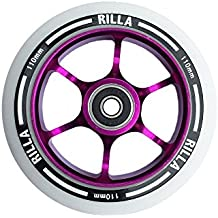 Rilla Stunt Scooters Commit 110mm rueda–# 1Pro Scooter Rueda–mejor que los ríos–truco Scooter partes–Alto grado PU–con rodamientos–libre y envío rápido, morado, 110 mm