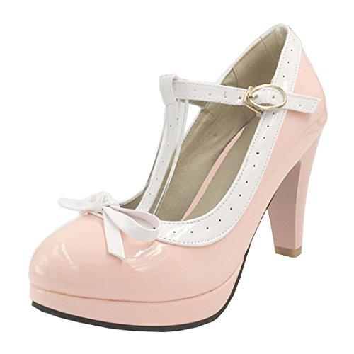 Agodor Damen T-Spangen High Heels Plateau Pumps mit Schnalle und Schleife Rockabilly Schuhe Ankle Strap T-strap-pumps