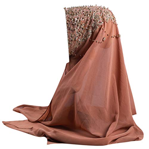 QIMANZI Schals Gold Glitzert Einfach Chiffon Muslim solideFarbePerle Chiffon SchalHijab A091(M,Free Size) - Cranberry Farbe Teppich