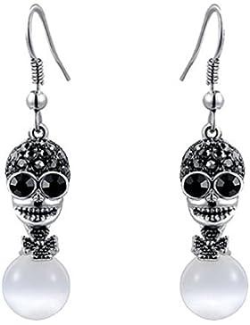 ROXI Damen Elegante platiniert Totenkopf schwarz und weiß Opal Haken Ohrringe