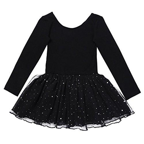 YiZYiF Kinder Mädchen Ballettanzug langarm Ballettkleid Ballett Trikot Turnanzug mit glänzende Rock Tütü in Rosa Lavendel Himmelblau und Schwarz Schwarz (Schwarz Tutu Mädchen)