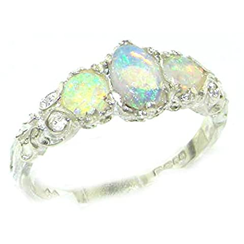 Ladies Solid Sterling Silver Natural Fiery Opal English Victorian Trilogy Ring - Size M - Finger Sizes L to Z Available - Perfect Gift for Mum, Wife, Daughter, Grandaughter,