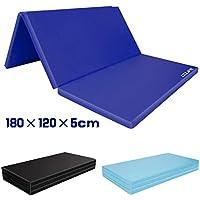 CCLIFE Colchoneta Plegable de Espuma para Gimnasia Yoga Deportiva Yoga estrilla Triple Plegable 180/120/5cm, Color:Azul