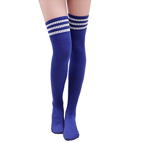 n Mädchen Dreifach Streifen Über das Knie Oberschenkel Hohe Strümpfe Sports Rohrsocken Cosplay Socken (Baumwolle Gestreifte Kostüme)