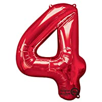 "amscan Number 4 Red SuperShape Foil Balloon 26""/66cm w x 34""/86cm h"